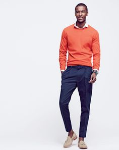 J.Crew men's crewneck cashmere, pleated trouser pant in Italian cotton and Ludlow tassel loafers. (June 2015)