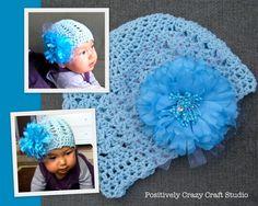 Azure Cotton + Blue Peony / Crocheted Baby Hat by Basia's Hat Factory http://arbillabasia.wix.com/basiashatfactory