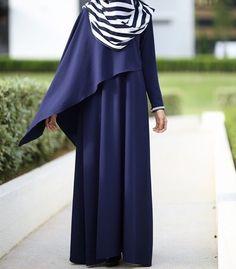 Blue dress with stripe blue white hijab