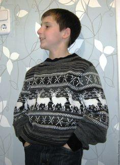 Купить Свитер с оленями - серый, орнамент, свитер, свитер вязаный, свитер с рисунком, свитер с оленями