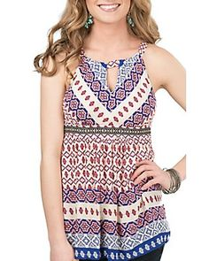 Panhandle Women's Ivory, Blue, and Pink Print Sleeveless Fashion Top
