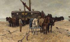 Art wallpaper / behang   Bomschuit op het strand   Anton Mauve   Canvas doeken en Art-wall behang van Nederlands grootste kunstschilders zoals Rembrandt, Vermeer, Mauve en van Gogh: HollandscheMeesters.com