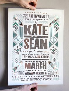 Wedding poster with tribal design and cool typography