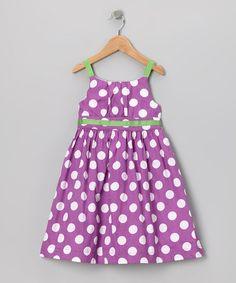 {Purple & Green Polka Dot Dress - Girls by Little Bitty}