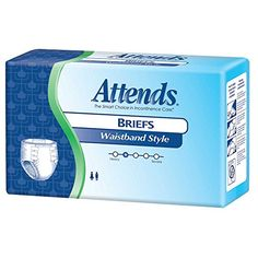 """Attends Maximum Briefs - Diaper Style, with Waistband, Size Large, Full case of 72 Briefs (532-7069) - Attends Briefs with Waistband - the Ultimate Protection. Size Large, fits waist 44"""" - 58"""". Designed for maximum comfort, dryness, and secure protection, with a soft non-woven topsheet, six refastenable tape tabs, and a stretchable waistband. Features our unique Perma-Dry technology that actually ..."""