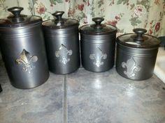 Set vintage canister flour sugar