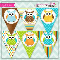 Boys Polka Dot Owls Theme - Printable Banner- Printable Party Favors - Boy Owl Party Printables