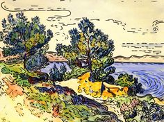 "Paul Signac, ""Coastal Landscape with Trees,"" 1894."