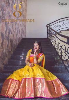 25 Kanjeevaram Lehenga Inspirations Handpicked For The Sister Of The Bride Lehenga Saree Design, Half Saree Lehenga, Saree Gown, Lehnga Dress, Lehenga Style, Silk Lehenga, Lehenga Designs, Saree Blouse Designs, Bridal Lehenga