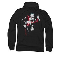 Enjoy the First Couple of Villains with this awesome mens pullover hoodie showing The Joker and Harley Quinn. Available in Mens sizes Small to 3XL. - Ships only within the United States - Please allow