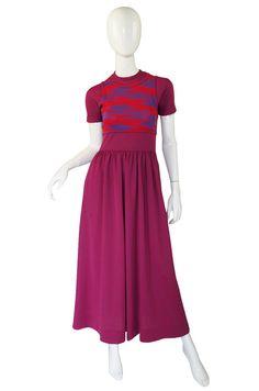 1971 Checked Raspberry Rudi Gernreich Maxi Dress