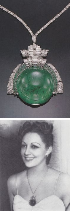 Formerly the property of Mrs. Jack l. Warner - Trabert & Hoeffer, Mauboussin attributed - A late Art Deco platinum, emerald and diamond clip / necklace, circa 1940. Centring a large round cabochon emerald measuring 3.7 x 3.7cm. Unsigned, numbered. Source: Sotheby's Magnificent Jewelry, New York, 24 & 25 October, 1990.