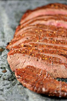 Marinated Flank Steak recipe. I like that she uses Montreal Steak seasoning, we use it often also.