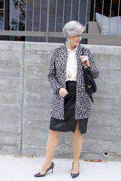 leopard topper, talbots leather skirt, michael kors hobo handbag