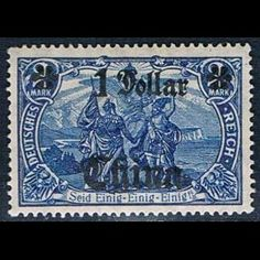 An overprints on German Empire postage stamp issued in 1901 with an allegorical painting, Deutsches Reich post in China