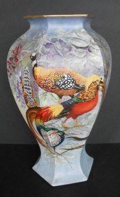 """Antique B & Co. Limoges France Hand Painted 15"""" Porcelain Vase Pheasant Birds  #ArtDeco"""