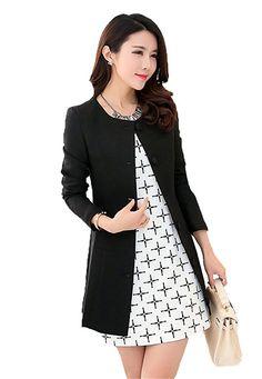 My Wonderful World Women's Round Neck OL Business Blazer Suit Medium Black