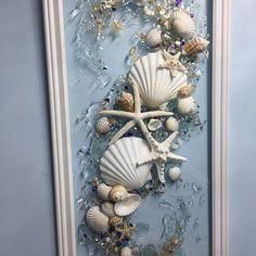 Seashell Wreath, Seashell Art, Seashell Crafts, Seashell Bathroom Decor, Beach Glass Wreath, Ocean Crafts, Beach Crafts, Sea Glass Art, Glass Wall Art