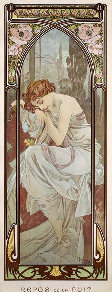 Afbeelding Alphonse Mucha - The Times of the Day: Night''s Rest