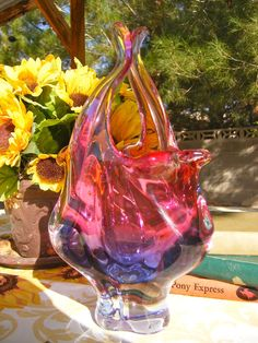 Handblown Glass Vase by hospitalityhouse on Etsy, $24.95