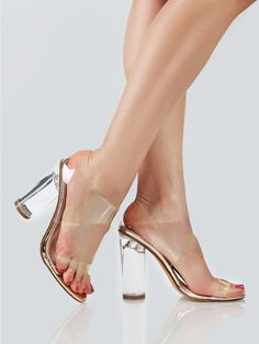 Shop Clear Double Band Slip On Heels ROSE GOLD online. SheIn offers Clear  Double Band