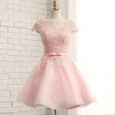 On Sale Great Lace Homecoming Dress Fabulous Cap Sleeve Pink Lace Beaded Tulle Short Homecoming Prom Dresses, Affordable Short Party Prom Sweet 16 Dresses, Perfect Homecoming Cocktail Dresses Dama Dresses, Lace Homecoming Dresses, Hoco Dresses, Knee Length Dresses, Sexy Dresses, Fashion Dresses, Formal Dresses, Short Pink Prom Dresses, Quinceanera Dresses Short
