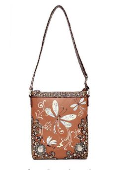 www.RusticShopWest.com - Toffee Brown Dragonfly Embroidered Messenger Bag Purse, $34.99