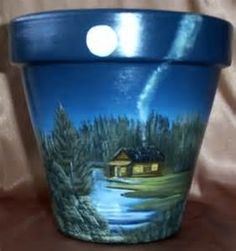 Hand painted Clay pots, Cabin scenes, Old shack, Cottages, house . Flower Pot Art, Clay Flower Pots, Flower Pot Crafts, Clay Pots, Flower Pot People, Clay Pot People, Painted Plant Pots, Painted Flower Pots, Clay Pot Projects
