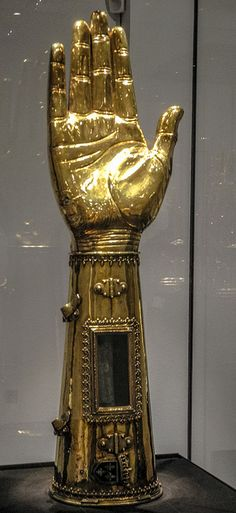 Arm Reliquary of Charlemagne (Charles the Great), 1481 in the Aachen Cathedral (Aachener Dom) Treasury - Aachen Germany. The bones of Charlemagne's right forearm are contained in this arresting reliquary made in 1481 AD.