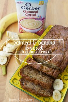 Delicious oatmeal and banana bread with my secret ingredient. oatmeal cereal from (Baby Banana Muffin) Baby Oatmeal Cereal, Oatmeal Banana Bread, Baby Cereal Pancakes, Cereal Recipes, Baby Food Recipes, Food Baby, Baby Muffins, Snacks Sains, Baby Finger Foods