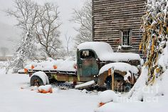 Fine art photograph of an old 1930's Dodge pick up covered in snow in Valle Crucis, North Carolina.  Keywords:  Dodge, Antique Dodge Truck, Snow, Snowing, Pumpkins, Corn Stalk, Pumpkins covered in snow, North Carolina, North Carolina Mountains, Watauga County North Carolina, Fall, Autumn, Americana, Rural, Back Road, Rusted, Rural Decay,