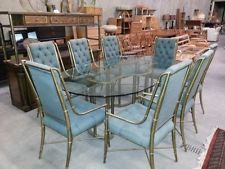 Vintage Mastercraft Faux Brass Bamboo Dinning Table 8 Dinning Chairs Original