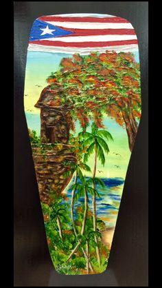 Artesanias de Puerto Rico conga garita flamboyan oleo sobre madera Puerto Rico art and crafts