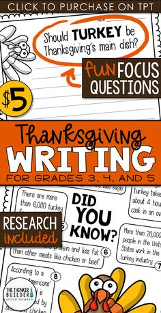 "Opinion Writing for Thanksgiving! Two complete lessons, each with carefully chosen facts included for students to analyze, discuss, and use to support their opinion to two engaging focus questions: ""Should turkey be Thanksgiving's main dish?"" and ""What is the most important part of Thanksgiving?"" Complete with lesson plans, printables, and extension activities. Gr 3-5 ($)"