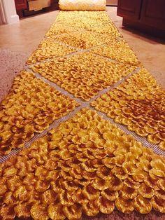 The Great Gatsby-Gold Silk Rose Petal Aisle Runner by PetaleDeRose
