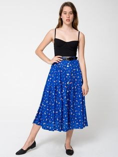 Rayon Button Up Long Skirt | Shop American Apparel