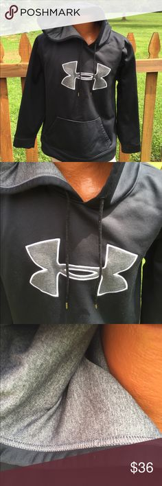 Under Armour Mens Black/Grey Hoodie Size Large Size large loose. Super gently preowned. Be sure to view the other items in our closet. We offer  women's, Mens and kids items in a variety of sizes. Bundle and save!! We love reasonable offers!! Thank you for viewing our item!! Under Armour Shirts Sweatshirts & Hoodies