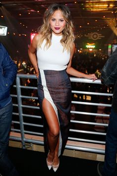 Chrissy Teigen attends at the Fallout 4 launch party held in Los Angeles on Nov. 5, 2015.   - Cosmopolitan.com
