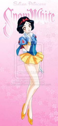 """Sailor Disney Princesses"", a series of illustrations by Drachea Rannak"