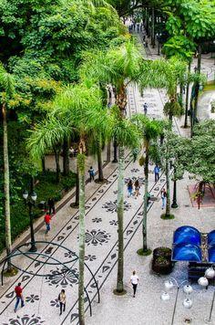 Na Praça Osório, tapete de mosaico português com desenhos de rosácea paranista (com pinhões nas laterais), baseado no desenho de Lange de Morretes. Foto: Fred Kendi / Gazeta do Povo