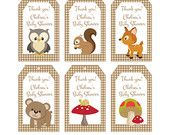 Woodland Friends Forest Animals Theme Baby Shower Favor Tags - Printable File