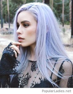Light purple hair color with a black lace blouse