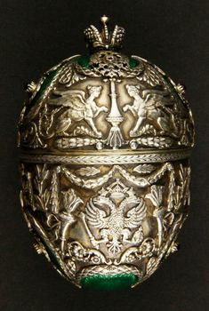 Russian Silver And Enamel Covered Egg, Hallmarked Faberge, 1908-1917.