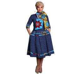 summer african bazin riche dresses vetements Africans Femme Printed Wax knee-length African print dresses for women Vintage Silhouette, African Print Dresses, African Attire, Cotton Style, Sleeve Styles, Cheer Skirts, Dresses For Work, Queen, Number