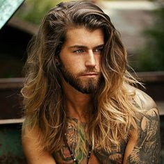 Related image - January 26 2019 at - Man Hair Style Lomg Hair, Hair And Beard Styles, Long Hair Styles, Beard Tattoo, Tattoo Man, Quick Hairstyles, Viking Hairstyles, Attractive Men, Male Beauty