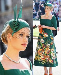 Lady Kitty Spencer, eldest daughter of Charles Spencer (Diana's younger brother) in Dolce & Gabbana at Harry & Meghan's Wedding May 2018.