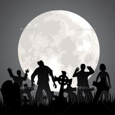 Halloween background with zombies, tombstones and the moon on the cemetery. Vector illustration, fully editable, vector objects se
