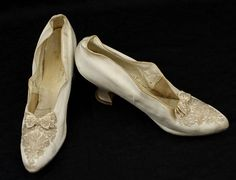 Wedding Shoes: ca. 1890, beaded satin lined with kidskin leather, leather soles, embellishment in slightly iridescent crystal beads and satin beaded bows, Louis XV heels.