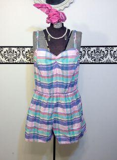 1980's Pastel Plaid Pin Up Swimsuit Size Large by RetrosaurusRex