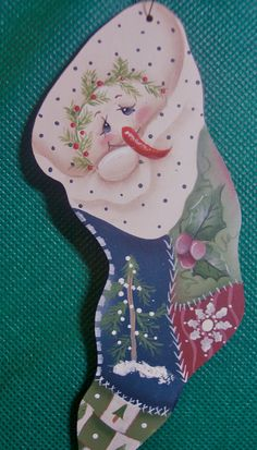 Patchwork Snowman Stocking wooden tole ornament by MsCraftyTouch, $12.50